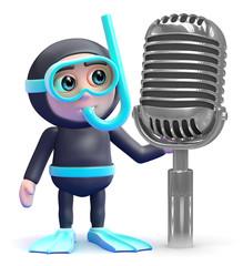 Scuba guy by a retro microphone