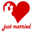 Herz Brautpaar just married
