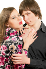 sensual loving young couple