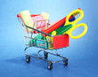 trolley with school equipment on blue background