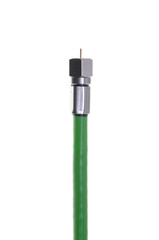 Single coaxial green cable with connector