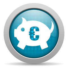 piggy bank blue glossy icon on white background