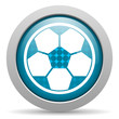 soccer blue glossy icon on white background
