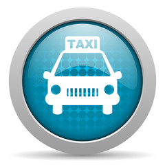 taxi blue glossy icon on white background