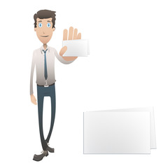 Business man holding a card. vector design