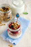 Yoghurt in a glass jar with muesli and currant
