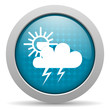 weather forecast blue glossy icon on white background