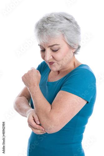 Ältere Frau hat Gelenkschmerzen