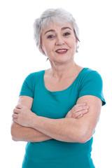 Entspannte ältere Dame mit grauen Haaren