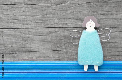 Blauer Schutzengel als Glückwunschkarte