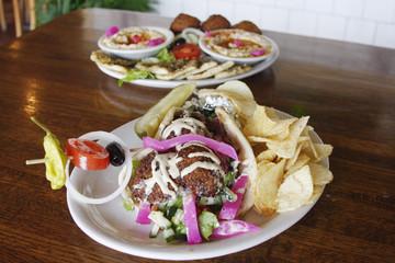 Falafel pita and and hummus plate