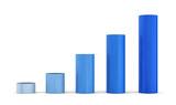 Aufwärtstrend Blau - 3D Bauklötze Diagramm Rund 1