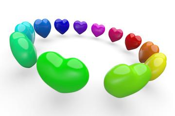 Bunte 3D Herzen im Kreis 4