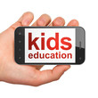 Education concept: smartphone with Kids Education