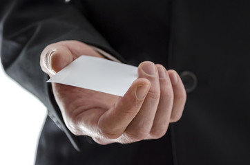 Business man giving a visit card