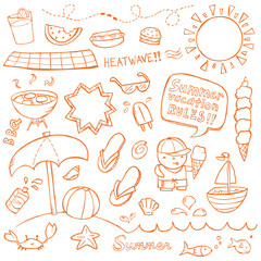Summer illustrations drawn in a doodled style.