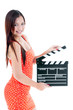 Beautiful Woman Holding Clapper Board