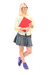 Full length portrait of a female student holding books
