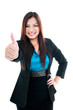 Happy Businesswoman Giving Thumb Up Gesture