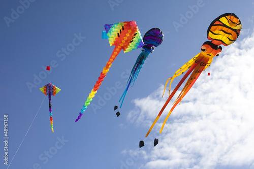 Fotobehang Luchtsport Colorful flying kites - Matariki celebration.