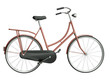 Classic red bicycle on a white background, 3D render