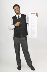 Man Holding A Long Resume