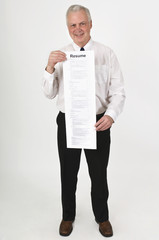 Businessman Holding A Very Long Resume