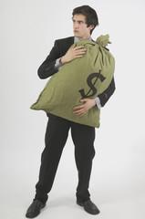 businessman protective of money