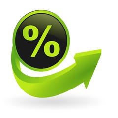 bouton pourcentage flêche verte