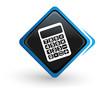 icône calculatrice sur bouton carré bleu