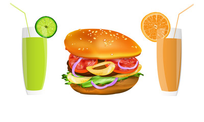Hamburger and fresh fruit juice.Fast food.Vector