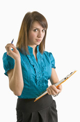Woman Holding Clipboard and Pen