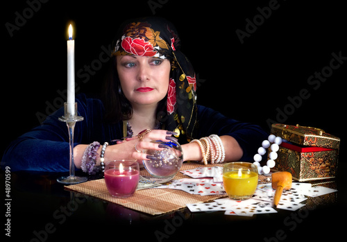Woman fortune-teller thinking of something