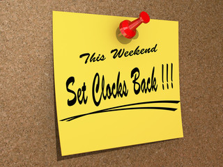 This Weekend Set Clocks Back.