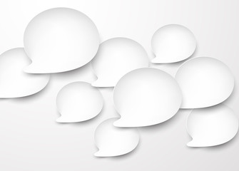 Paper white rounded speech bubbles.