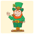 Cute Saint Patrick's Leprechaun in top-hat alone isolated