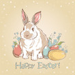Easter bunny retro card with hand drawn painted eggs