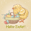 Easter vintage hand drawn card with cute little chicken