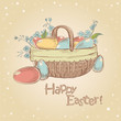 Vintage Easter card with basket full of colorful painted eggs