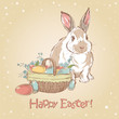 Easter retro card with cute hand drawn bunny