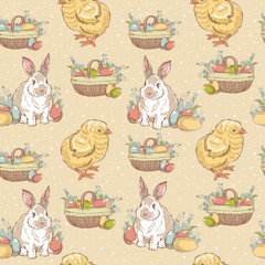 Easter vintage hand-drawn seamless pattern