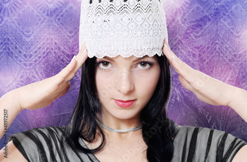 Young Woman Fashion Studio Portrait Purple
