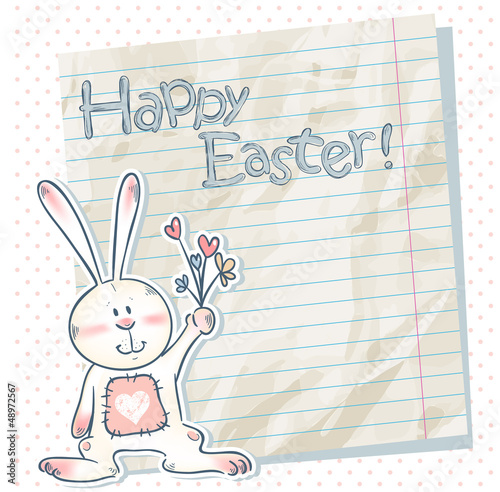 Easter cartoon bunny on a notebook scrap paper