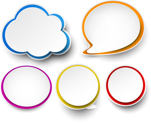 Paper set of color speech bubbles.