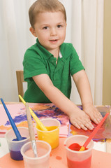 Young Boy Finger Painting