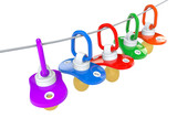 Row of babies pacifiers with rope