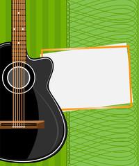 Greeting card. Black acoustic guitar