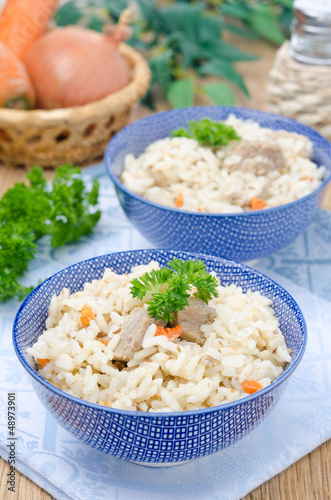 two bowls Uzbek national dish pilaf