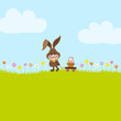Bunny In Meadow Pulling Handcart Easter Basket