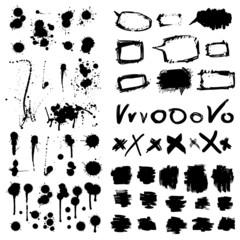 Ink splatters. Grunge design elements collection.